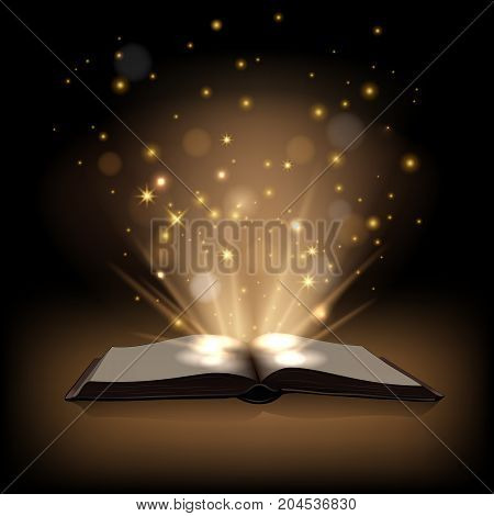 Magic book with magic lights on dark brown background. Vector illustration.