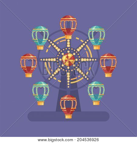 Funfair carnival flat illustration. Amusement park illustration with a Ferris wheel at night on blue background
