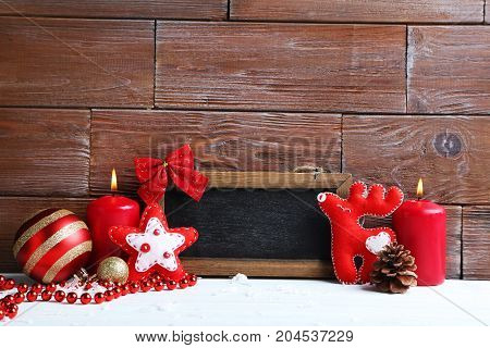 Frame With Christmas Decorations On The Wooden Background