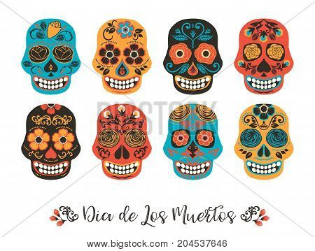 Dia de los muertos. Day of The Dead. Vector illustration of skulls for invitation, banner, card, poster, flyer, web and other users.