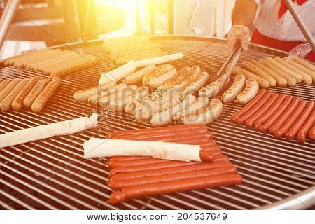 Bbq With Fiery Sausages On The Grill