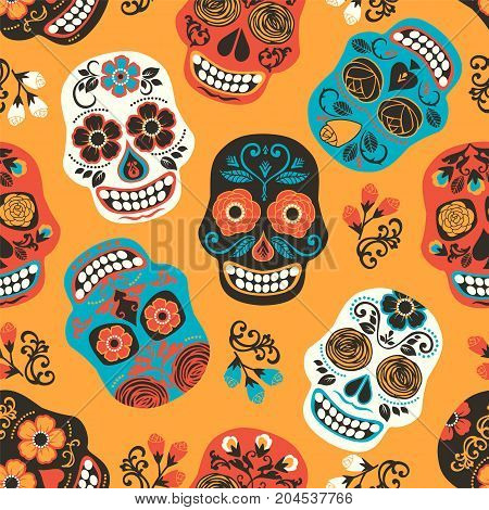 Dia de los muertos. Day of The Dead. Seamless pattern. Vector template.