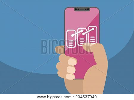 Blockchain or data model concept on frameless touchscreen as vector illustration. Hand holding bezel free smartphone with icon ordered records