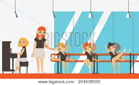 Vector interior in flat style with little ballerinas teacher and musician playing piano. Ballet dancing studio with dance barre.