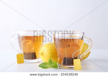 Cup Of Tea With Teabag On A White Background