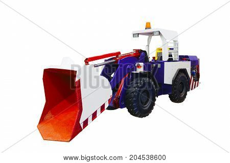 Modern Bulldozer tractor  isolated on white background