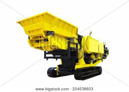 New russian powerful self-propelled stone crusher machine yellow color isolated on white background