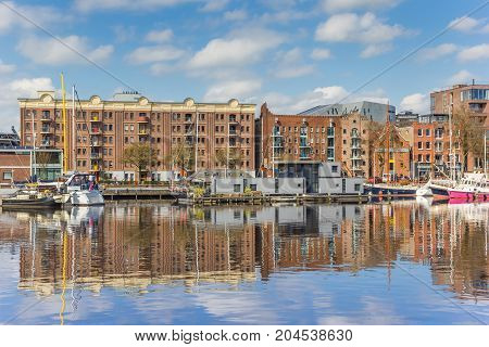 GRONINGEN, NETHERLANDS - APRIL 03, 2017: Old warehouse in the east harbor of Groningen Netherlands