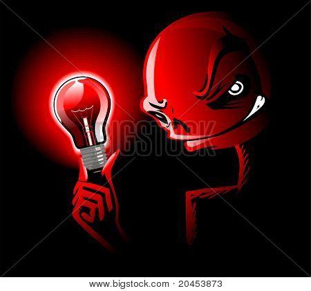 red light illuminates a scary face