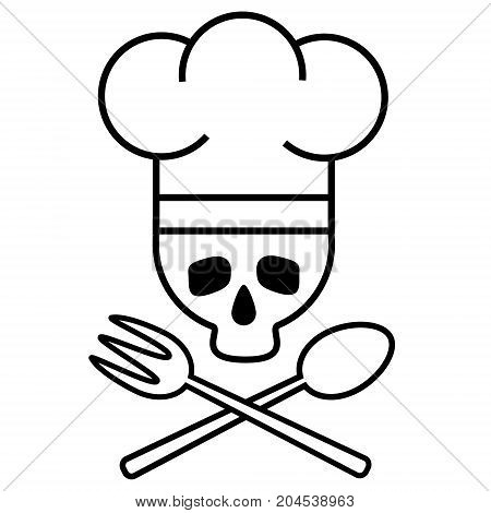 Skull chef in chef s hat with crossed spoon and fork. Logo icon. Black-and-white drawing. Vector illustration