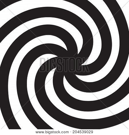 Hypnotic spiral. Black and white psychedelic spiral. Vector illustration.