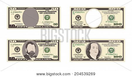 100, 50 Dollar Banknotes. Bill one hundred, fifty dollars. Suitable for discount cards, leaflet, coupon, flyer and vouchers. Vector. American president Benjamin Franklin, Grant. Horizontal.