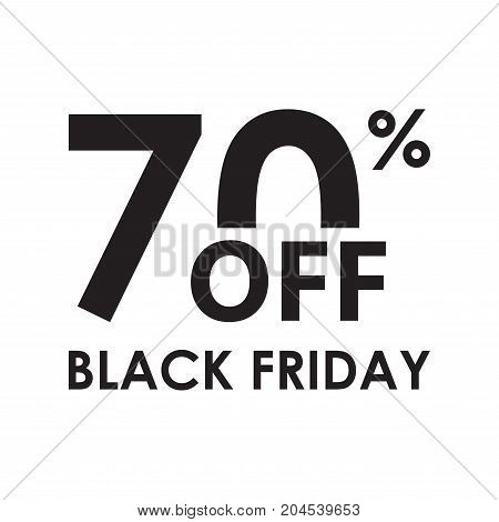 70% off. Black Friday design template isolated on white background. Sales discount price shopping and low price symbol. Vector illustration.