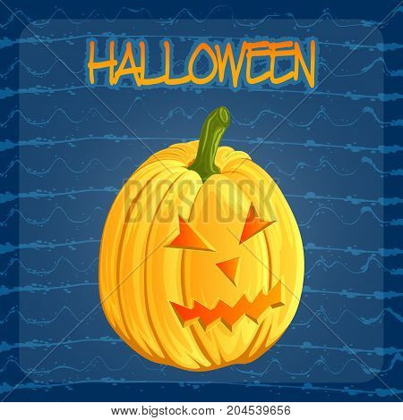 Halloween pumpkin icon in cartoon style. Jack o lantern isolated on a dark blue doodle blots background. It can be used for design greeting card, party invitation, banners, print, logo. Vector illustration