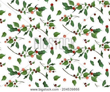 Merry Christmas New Year seamless pattern for card & gift wrapping paper print design. Typographical Background: holly red berry green leaves branches. Festive decorative cute watercolor wallpaper