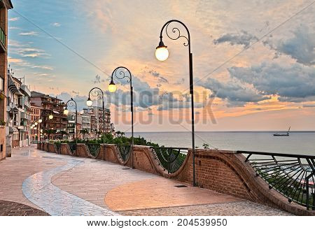 Ortona, Abruzzo, Italy: seafront at dawn, beautiful terrace with street lamp on the Adriatic sea