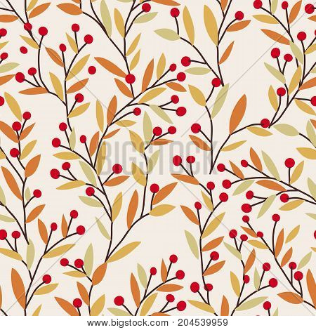 Seamless vector autumn pattern with red and orange berries and leaves. Fall colorful floral background. Elegant floral seamless pattern