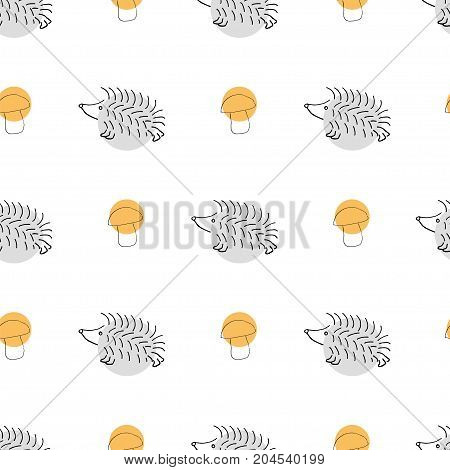Autumn seamless pattern with a hedgehog and a mushroom on white background with colorful circles. Stock vector illustration of a cute animal for seasonal greeting cards, decoration in retro style.