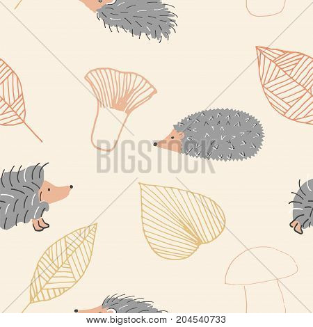 Autumn seamless pattern with hedgehog , mushrooms and leaves on pale background. Stock vector illustration of a cute animal for seasonal greeting cards, decoration in retro style.