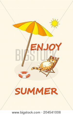 Hand drawn cartoon cat on the beach in the sunlounger. Summer vacation concept background with text Enjoy summer. eps 10.