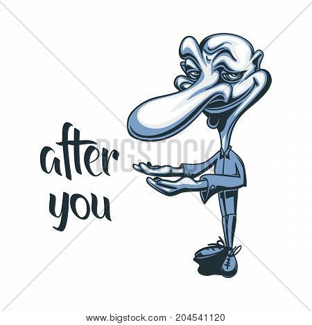 Courteous Funny Caricature Caracter Cartoon Polite Gentleman Vector