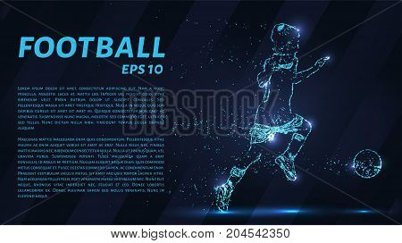 Football Which Consists Of Points. Particles In The Form Of A Football Player On Dark Background. Ve