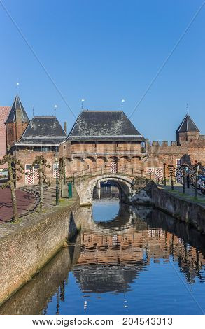 Canal And City Gate Koppelpoort In Amersfoort