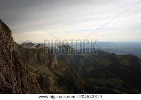 Scenic cloudy landscape of Lake Luzern and surroundings from Mount Pilatus, Switzerland