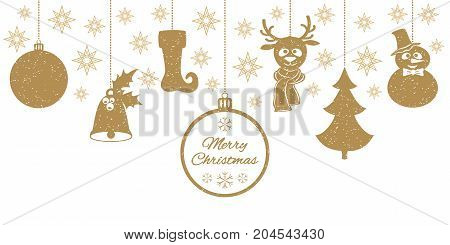 Gold Christmas pendants a bell with holly, ball, fir-tree, a deer in scarf, snowman in a hat, stocking, stars. A border isolated on white background. Vector illustration for your design