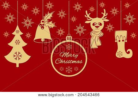 Gold Christmas pendants a bell with holly, ball, fir-tree with snowflakes, a deer in scarf, stocking, stars. A border isolated on red background. Vector card for your design
