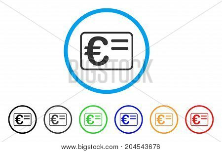 Euro Account Card icon. Vector illustration style is a flat iconic euro account card grey rounded symbol inside light blue circle with black, gray, green, blue, red, orange color additional versions.