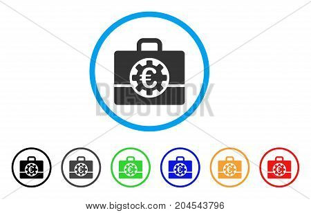 Euro Bank Case icon. Vector illustration style is a flat iconic euro bank case grey rounded symbol inside light blue circle with black, gray, green, blue, red, orange color additional versions.