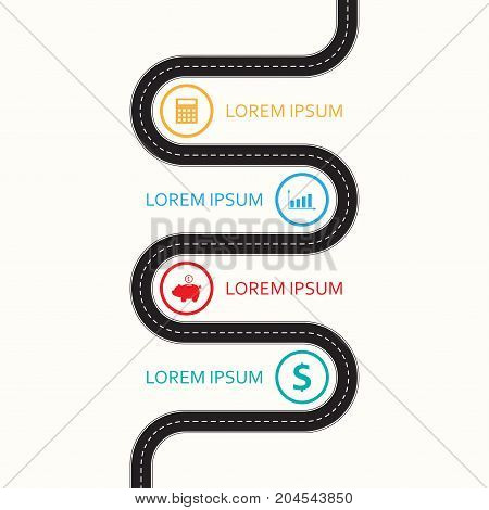 Road infographic template with icons. Asphalt winding road design element. Vector illustration.