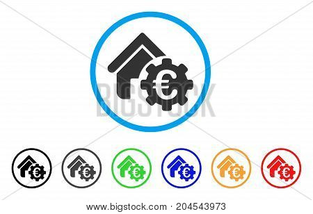 Euro Building Payment Gear icon. Vector illustration style is a flat iconic euro building payment gear gray rounded symbol inside light blue circle with black, gray, green, blue, red,