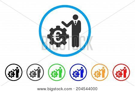 Euro Businessman icon. Vector illustration style is a flat iconic euro businessman gray rounded symbol inside light blue circle with black, gray, green, blue, red, orange color variants.