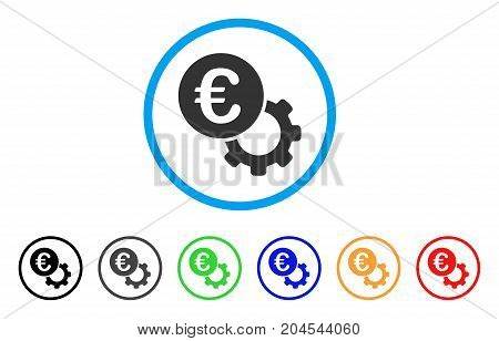 Euro Configure icon. Vector illustration style is a flat iconic euro configure gray rounded symbol inside light blue circle with black, gray, green, blue, red, orange color versions.
