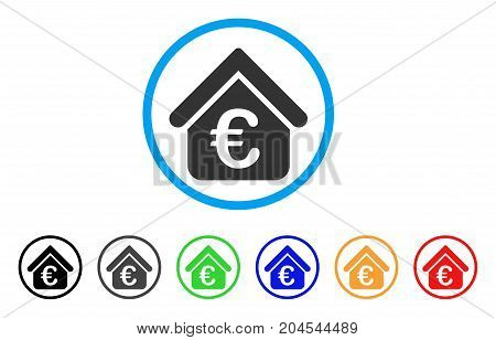 Euro Loan Real Estate icon. Vector illustration style is a flat iconic euro loan real estate grey rounded symbol inside light blue circle with black, gray, green, blue, red, orange color variants.