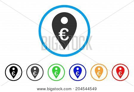 Euro Map Marker icon. Vector illustration style is a flat iconic euro map marker gray rounded symbol inside light blue circle with black, gray, green, blue, red, orange color additional versions.