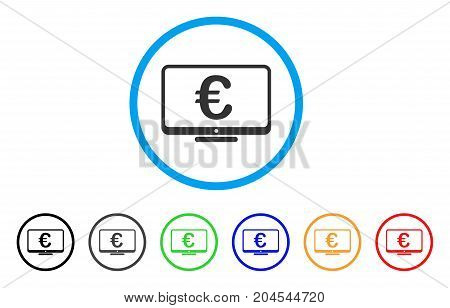 Euro Monitor icon. Vector illustration style is a flat iconic euro monitor grey rounded symbol inside light blue circle with black, gray, green, blue, red, orange color versions.