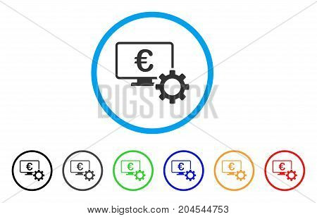 Euro Online Bank Configuration icon. Vector illustration style is a flat iconic euro online bank configuration grey rounded symbol inside light blue circle with black, gray, green, blue, red,
