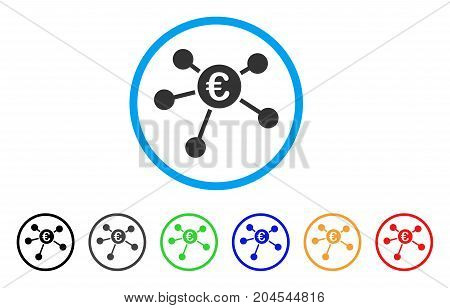 Euro Payments icon. Vector illustration style is a flat iconic euro payments gray rounded symbol inside light blue circle with black, gray, green, blue, red, orange color versions.