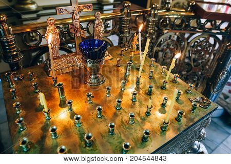 Golden Candleholder In Church, Stand For Candles In The Interior Of Orthodox Church, Orthodox Icon L