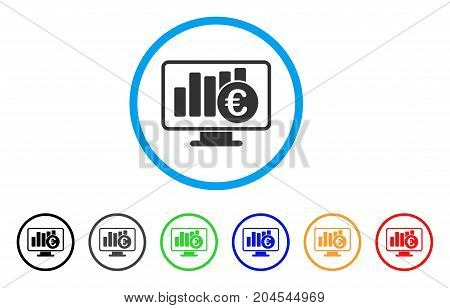 Euro Stock Market Monitoring icon. Vector illustration style is a flat iconic euro stock market monitoring gray rounded symbol inside light blue circle with black, gray, green, blue, red,