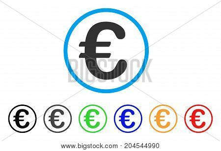 Euro Symbol icon. Vector illustration style is a flat iconic euro symbol gray rounded symbol inside light blue circle with black, gray, green, blue, red, orange color additional versions.