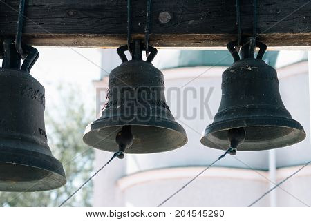 Many Church Bells In The Church Bell Tower, Bells Of The Old Temple, Bells Of An Orthodox Church
