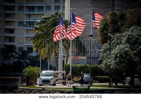 American Flags In Bayfront Park Of Miami