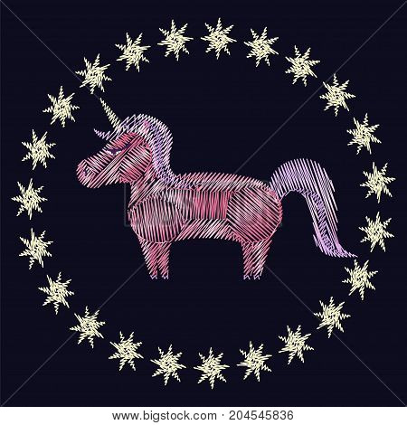 Unicorn embroidery on black background. Stock vector illustration of fantasy fairytale creature in folk fashion ornament for clothes decoration in girly style.