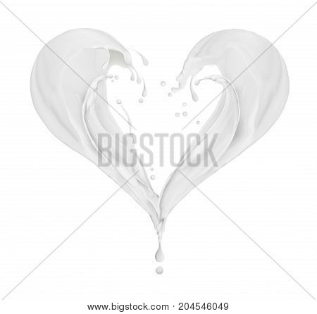 Splashes of milk in the shape of a heart isolated on white background