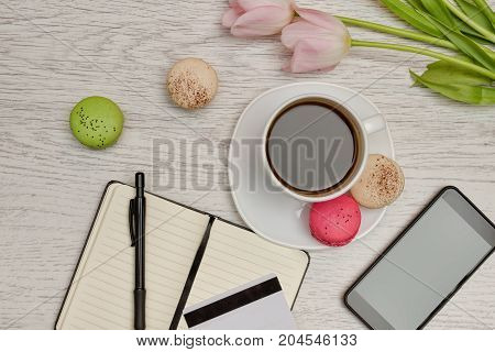 Planning Of Affairs. Mug Of Coffee With Dessert, A Notepad, A Credit Card And Mobile Phone. Business