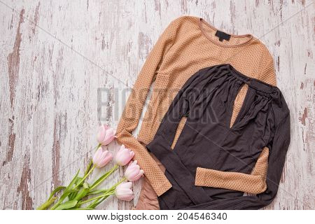 Golden And Black Blouse, Pink Tulips On A Wooden Background. Fashionable Concept, Top View